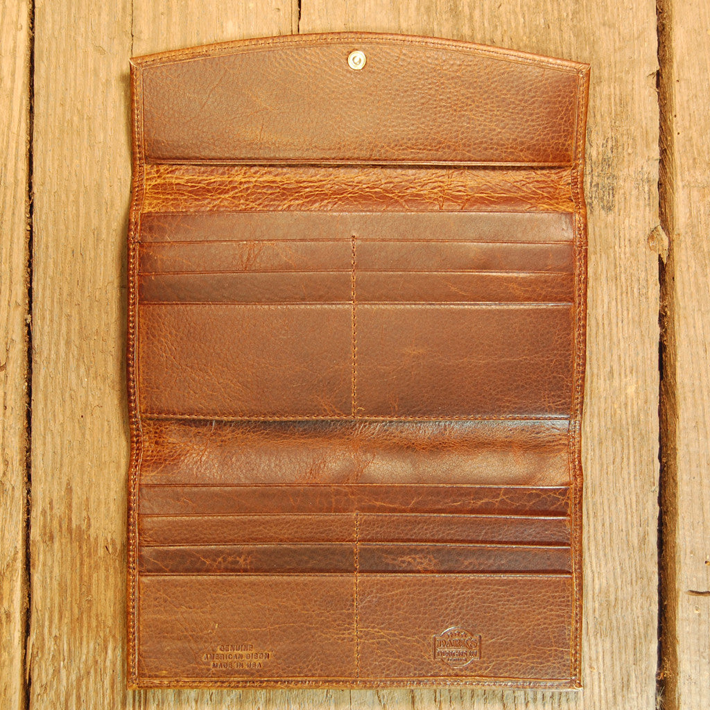 Dark's Leather Credit Card Clutch Wallet in Bison Tobacco, Interior