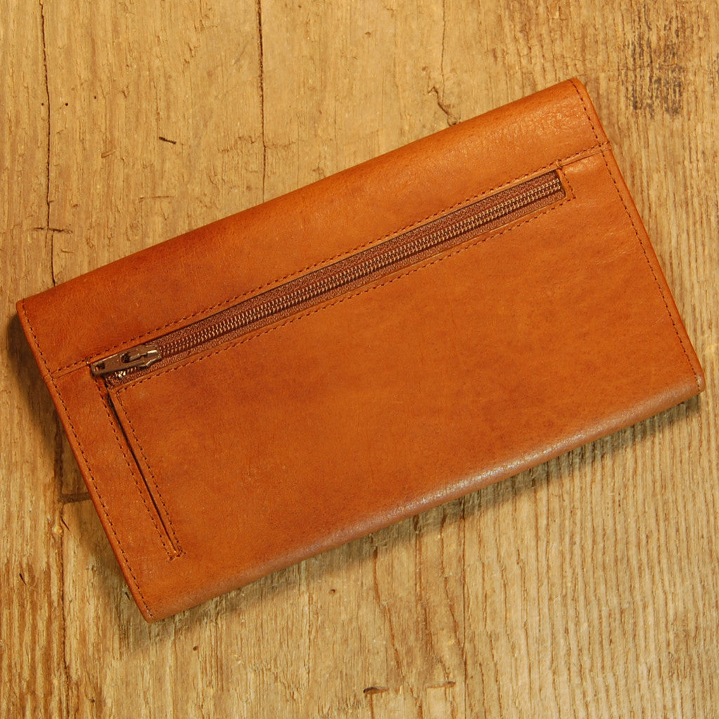 Dark's Leather Credit Card Clutch Wallet in Bison Whiskey, Back