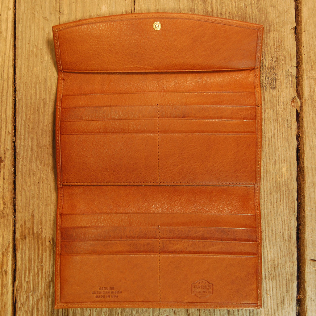 Dark's Leather Credit Card Clutch Wallet in Bison Whiskey, Interior