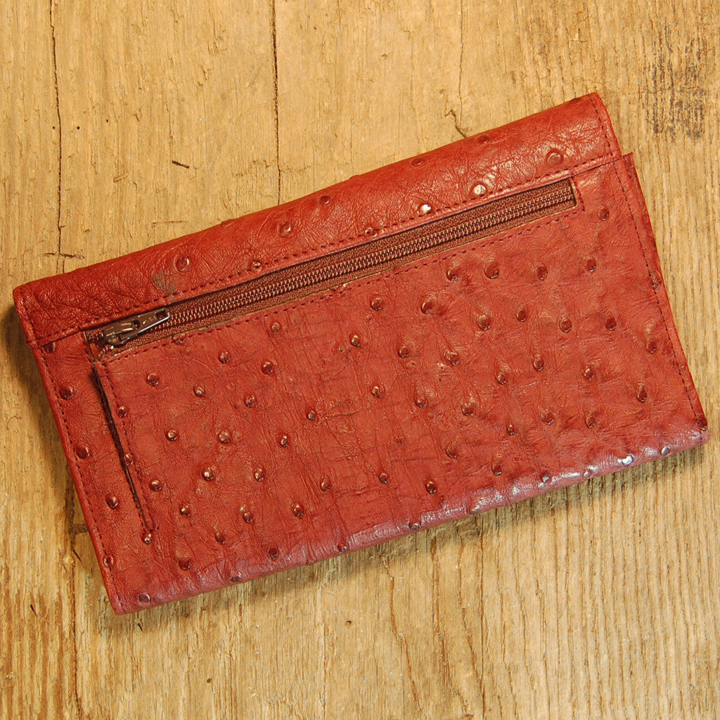 Dark's Leather Credit Card Clutch Wallet in Ostrich Burgundy, Back