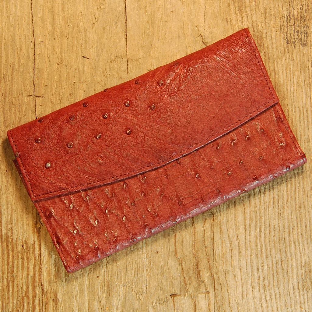 Dark's Leather Credit Card Clutch Wallet in Ostrich Burgundy