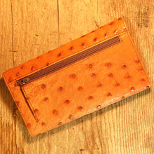 Dark's Leather Credit Card Clutch Wallet in Ostrich Cognac, Back