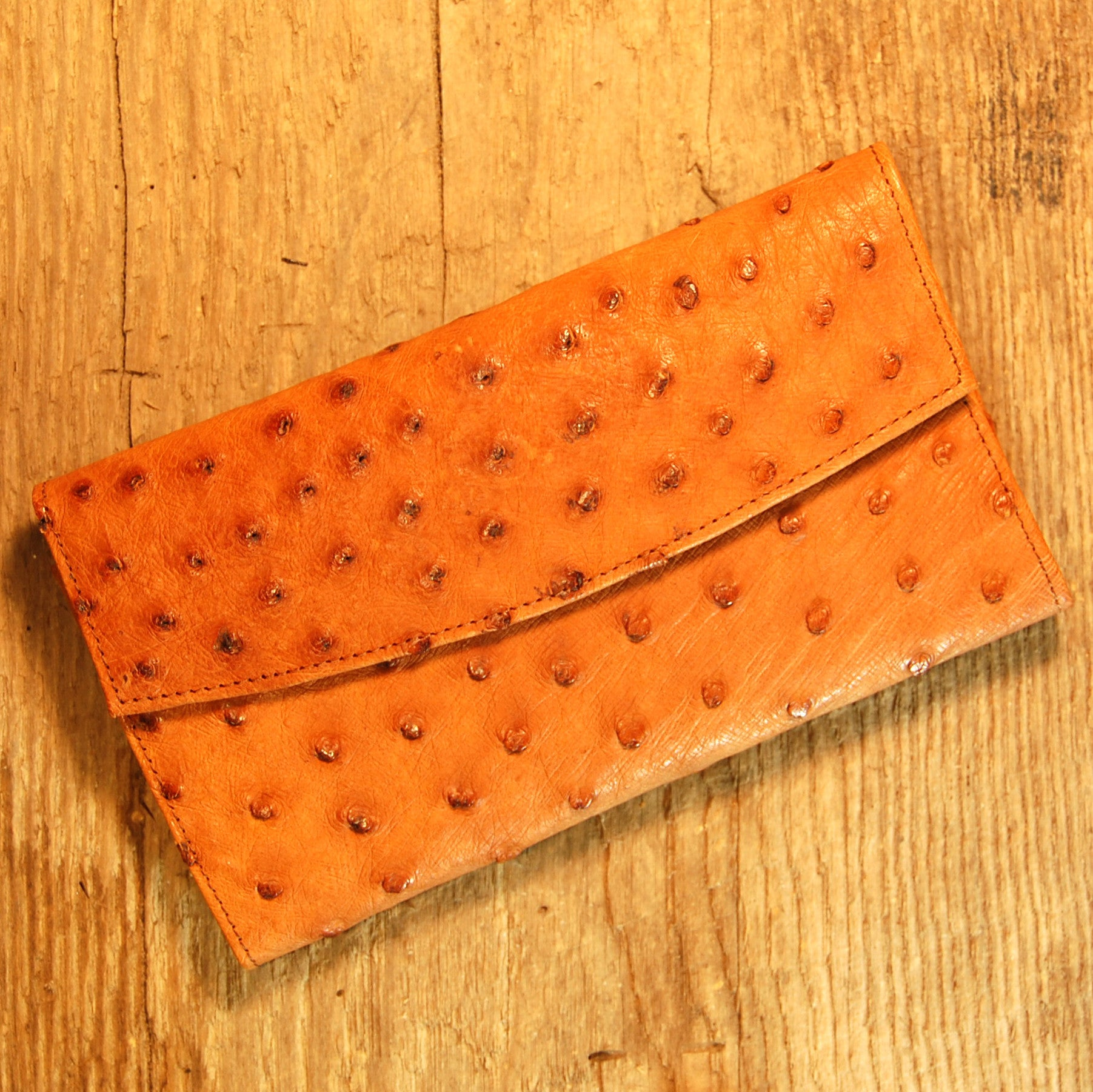 Dark's Leather Credit Card Clutch Wallet in Ostrich Cognac
