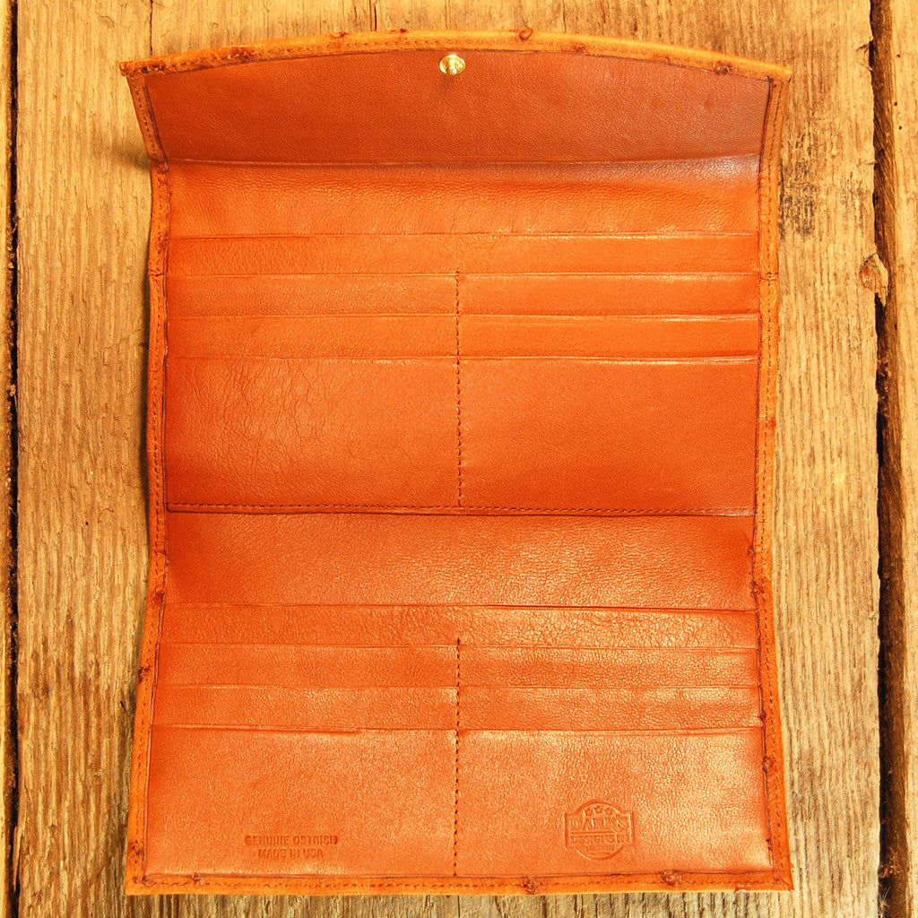 Dark's Leather Credit Card Clutch Wallet in Ostrich Cognac, Interior