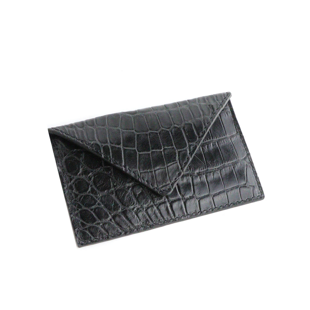 Dark's Leather - Envelope Calling Card Case in Alligator Black