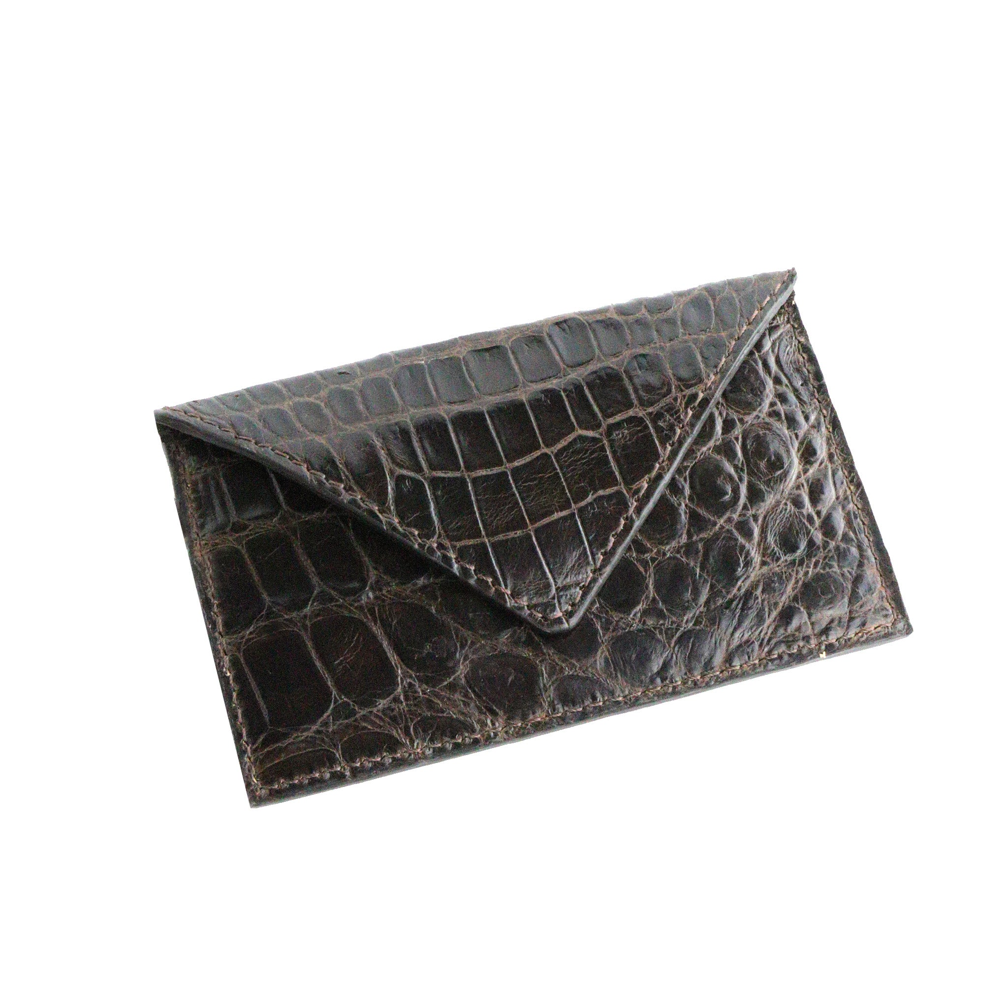 Dark's Leather - Envelope Calling Card Case in Alligator Brown