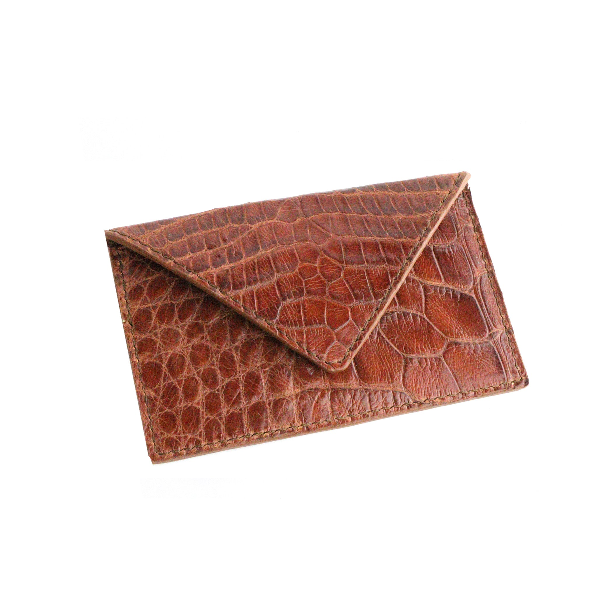 Dark's Leather - Envelope Calling Card Case in Alligator Cognac