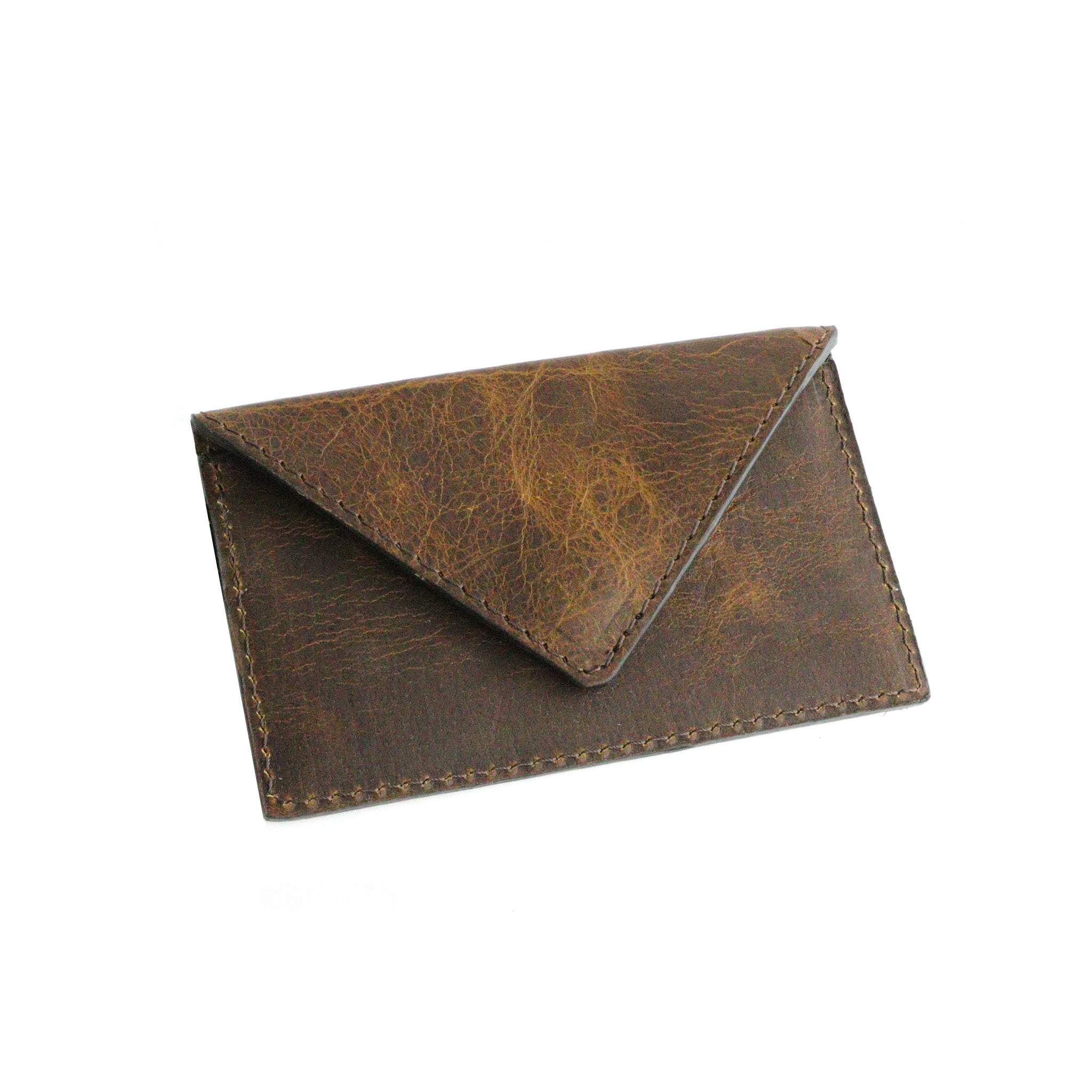 Dark's Leather - Envelope Calling Card Case in Bison Tobacco