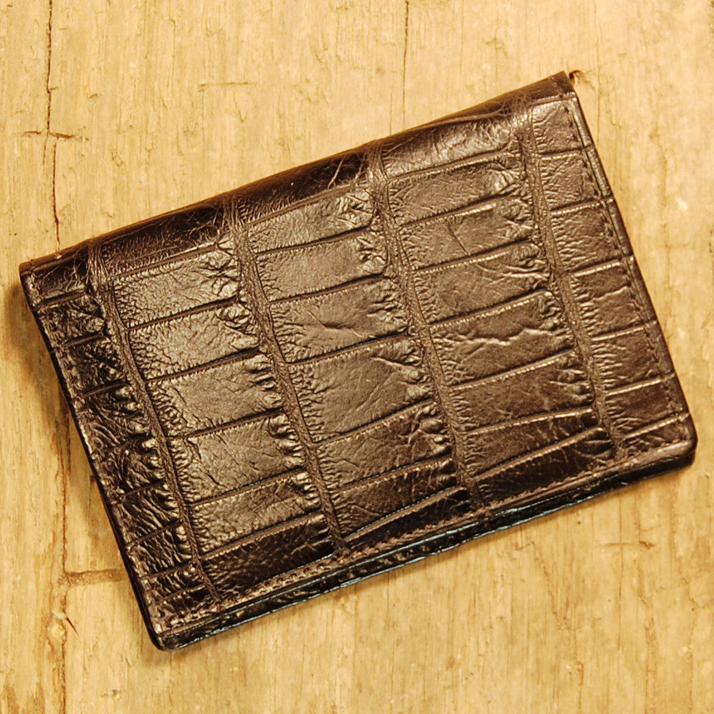 Dark's Leather Executive Card Case in Alligator Black, Front