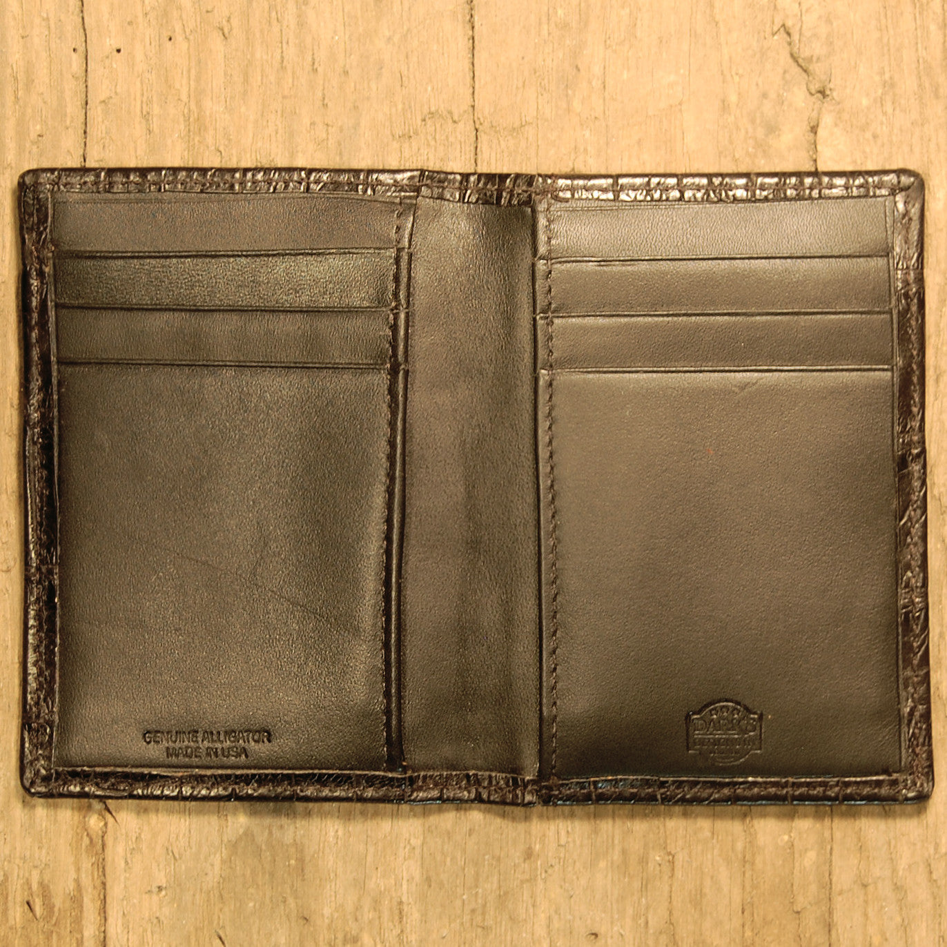 Dark's Leather Executive Card Case in Alligator Black, Interior