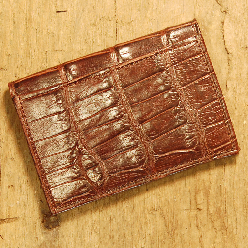 Dark's Leather Executive Card Case in Alligator Brown, Back