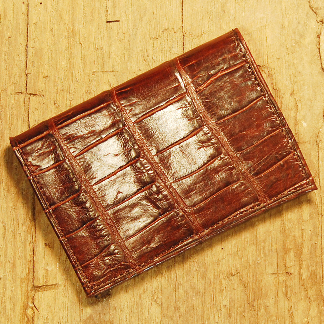 Dark's Leather Executive Card Case in Alligator Brown, Front