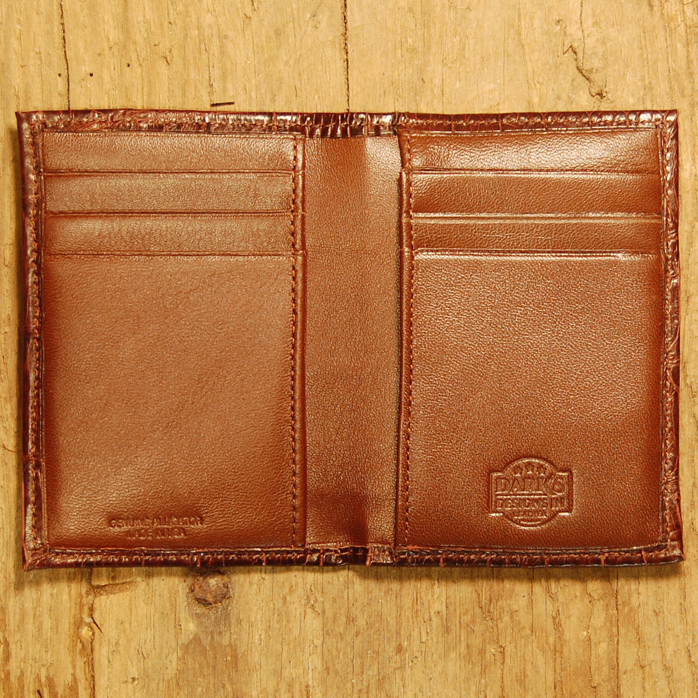 Dark's Leather Executive Card Case in Alligator Brown, Interior