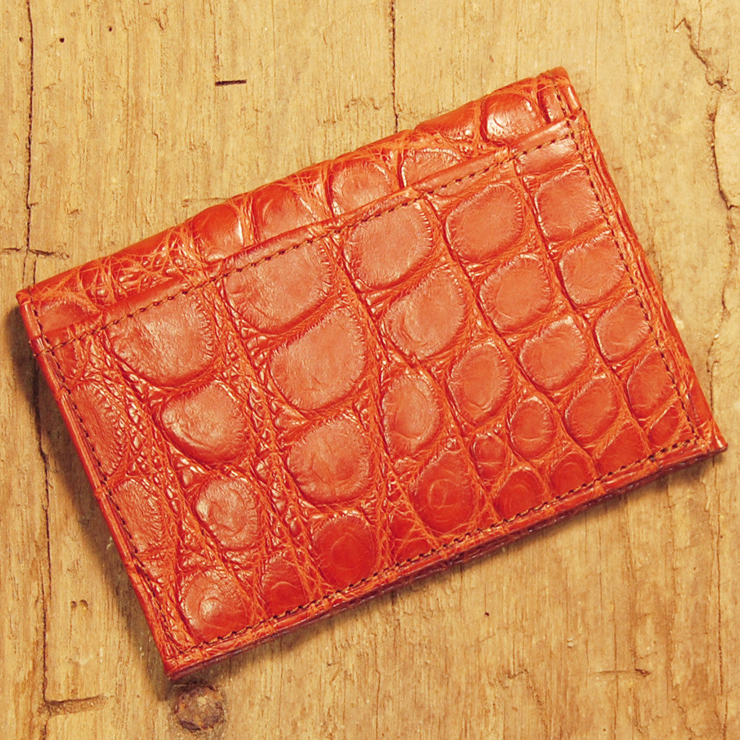 Dark's Leather Executive Card Case in Alligator Cognac, Back
