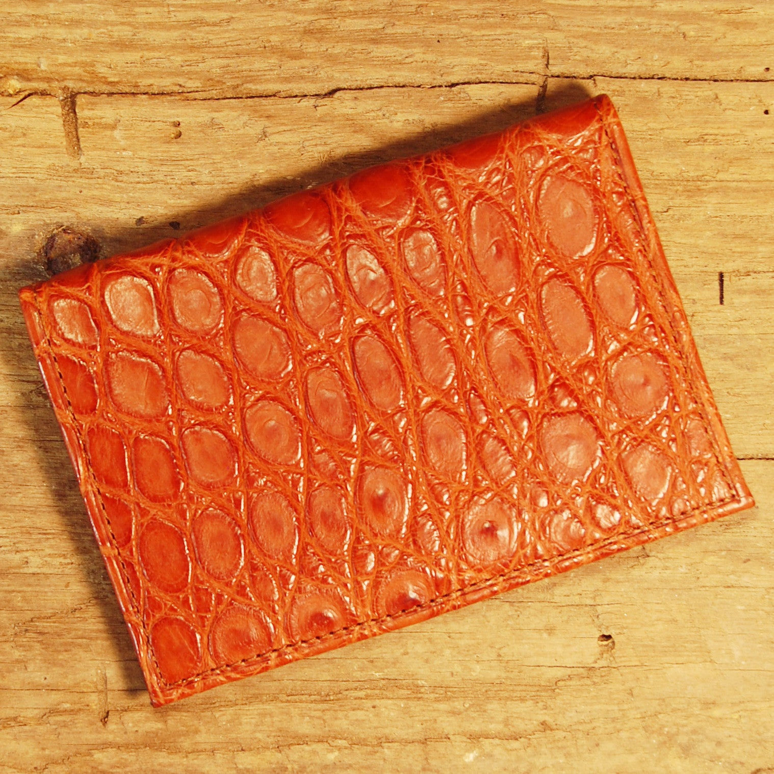 Dark's Leather Executive Card Case in Alligator Cognac, Front