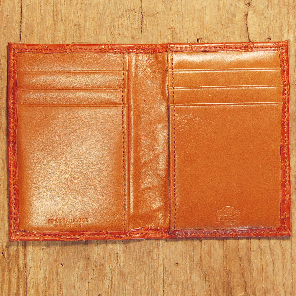 Dark's Leather Executive Card Case in Alligator Cognac, Interior
