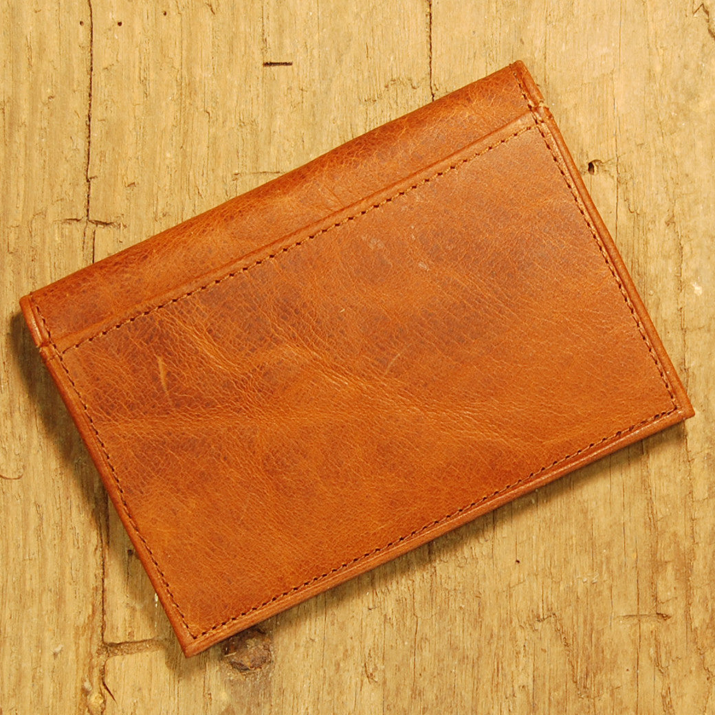 Dark's Leather Executive Card Case in Bison Cognac, Back