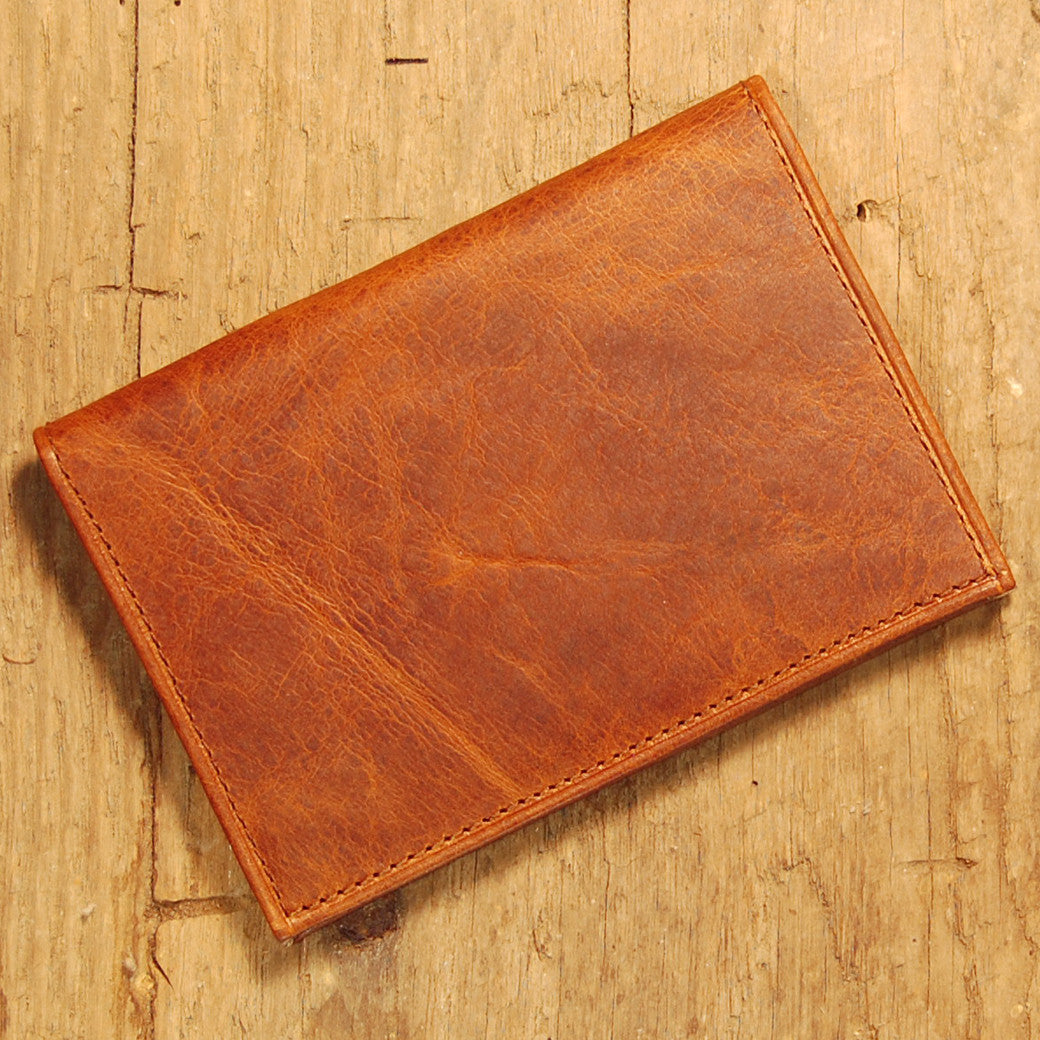 Dark's Leather Executive Card Case in Bison Cognac, Front