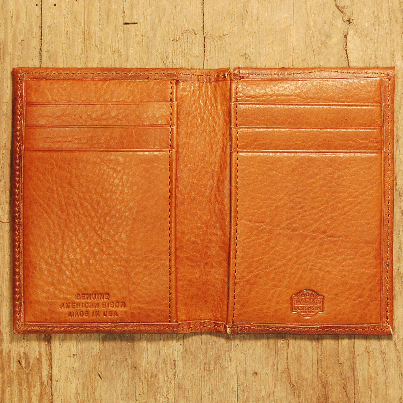 Dark's Leather Executive Card Case in Bison Cognac, Interior