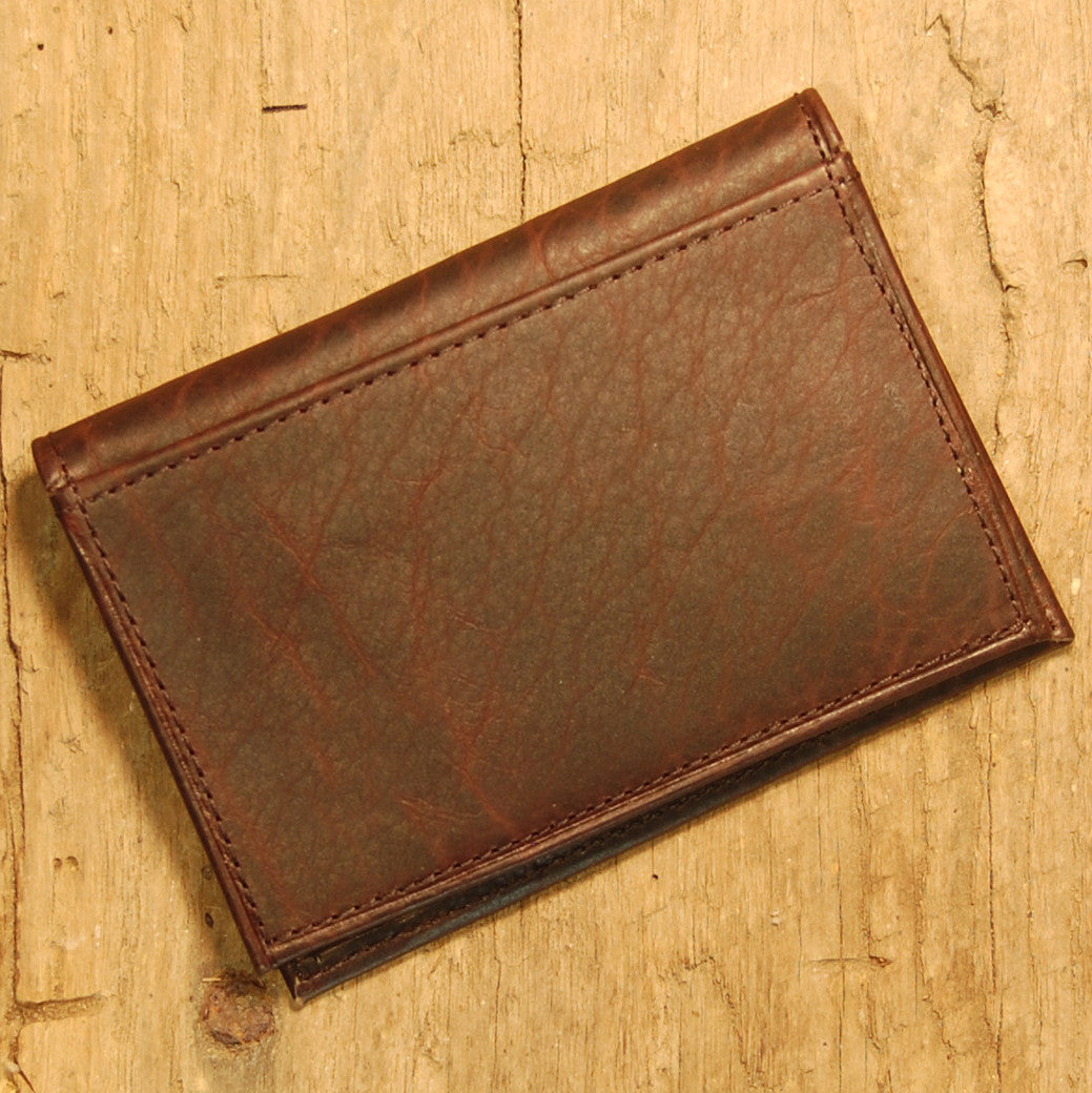 Dark's Leather Executive Card Case in Bison Espresso, Back