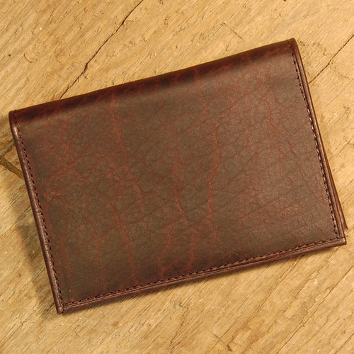 Dark's Leather Executive Card Case in Bison Espresso, Front