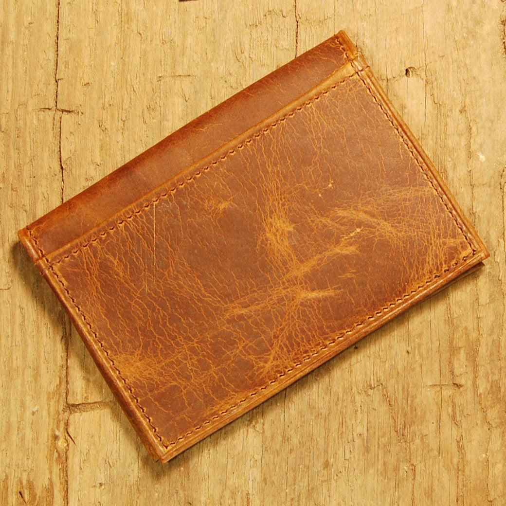Dark's Leather Executive Card Case in Bison Tobacco, Back