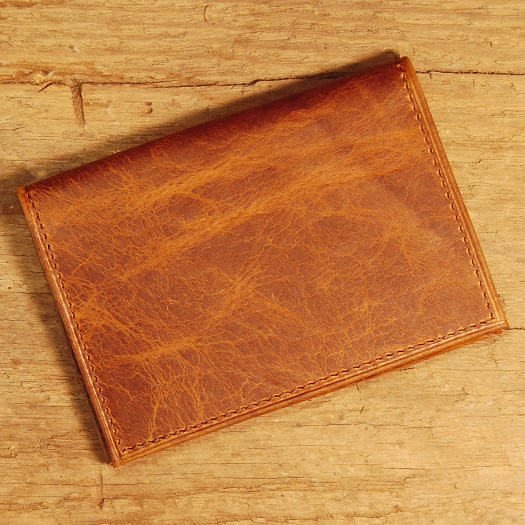 Dark's Leather Executive Card Case in Bison Tobacco, Front