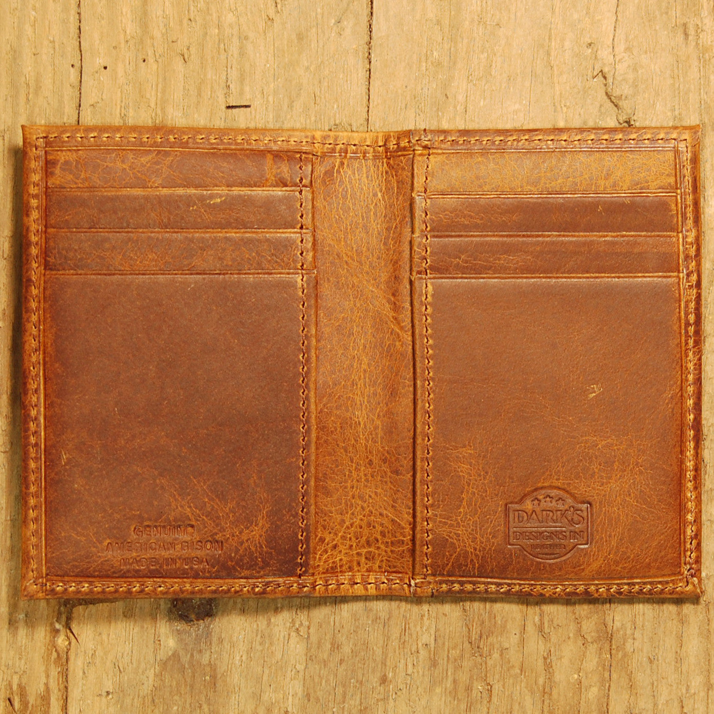 Dark's Leather Executive Card Case in Bison Tobacco, Interior