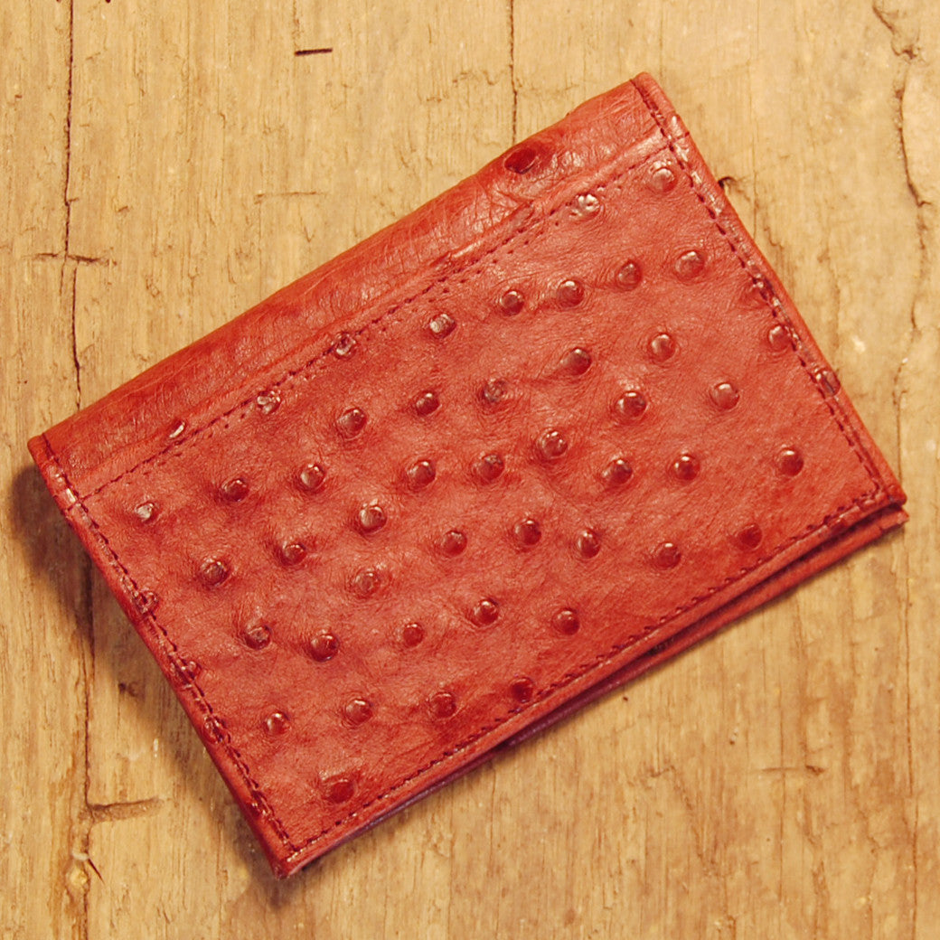 Dark's Leather Executive Card Case in Ostrich Burgundy, Back