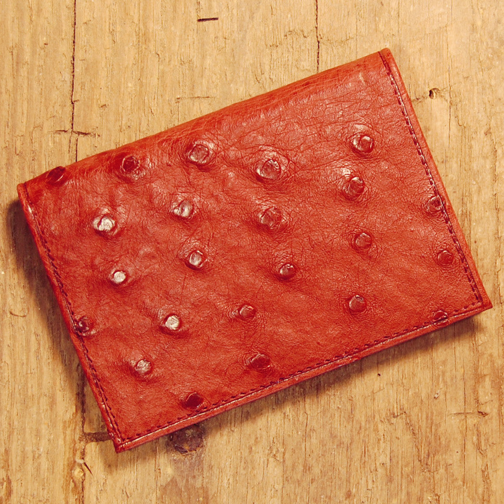 Dark's Leather Executive Card Case in Ostrich Burgundy, Front