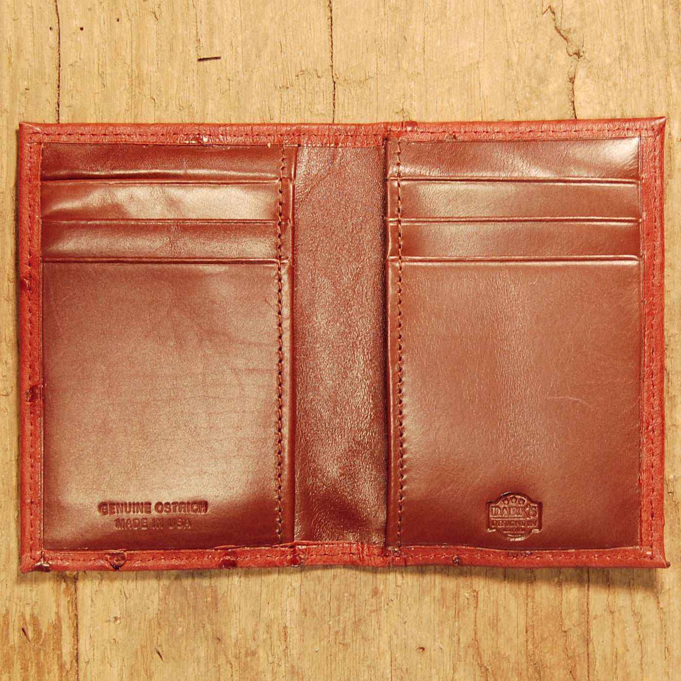 Dark's Leather Executive Card Case in Ostrich Burgundy, Interior