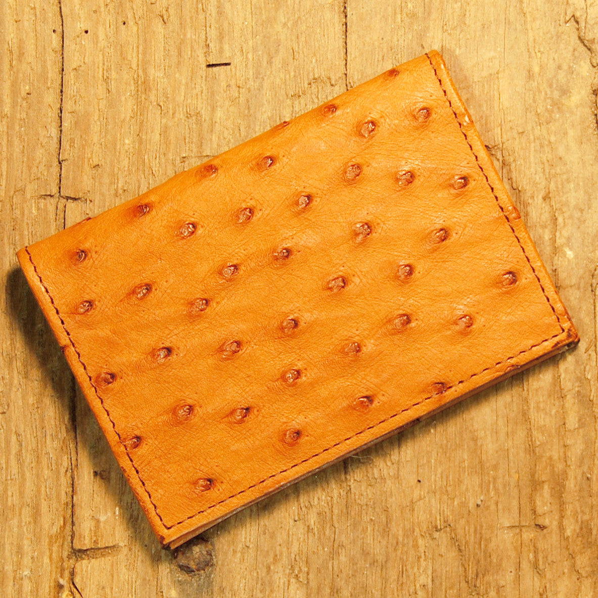 Dark's Leather Executive Card Case in Ostrich Cognac, Front
