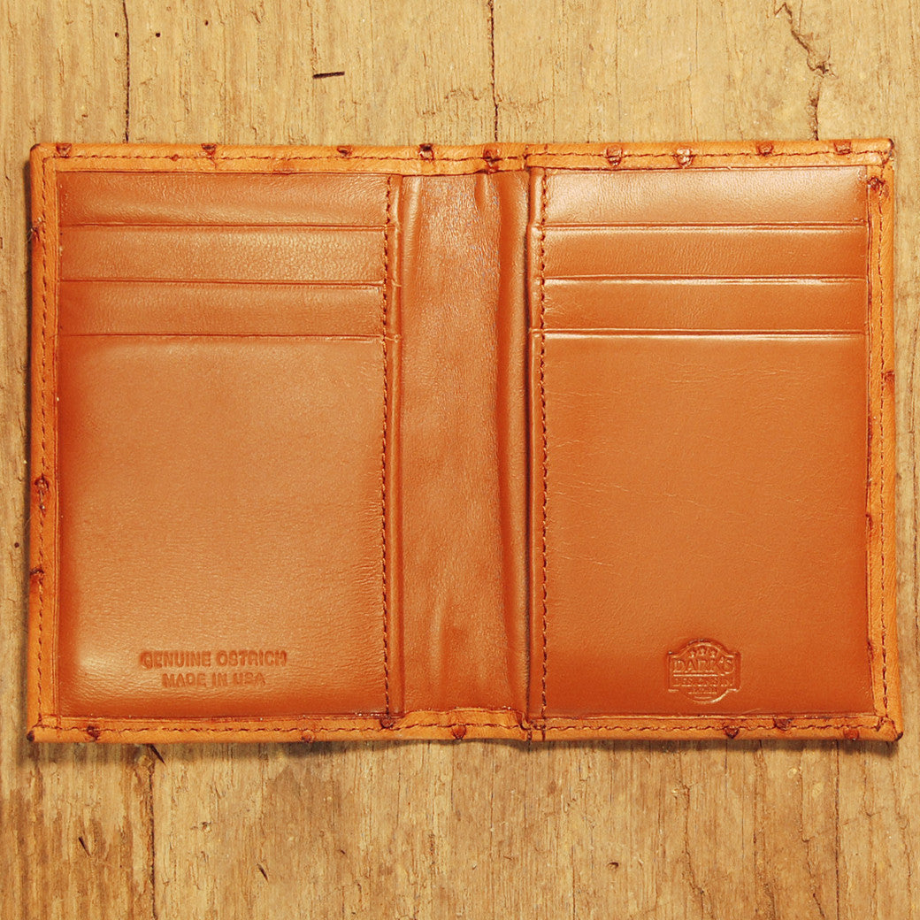 Dark's Leather Executive Card Case in Ostrich Cognac, Interior