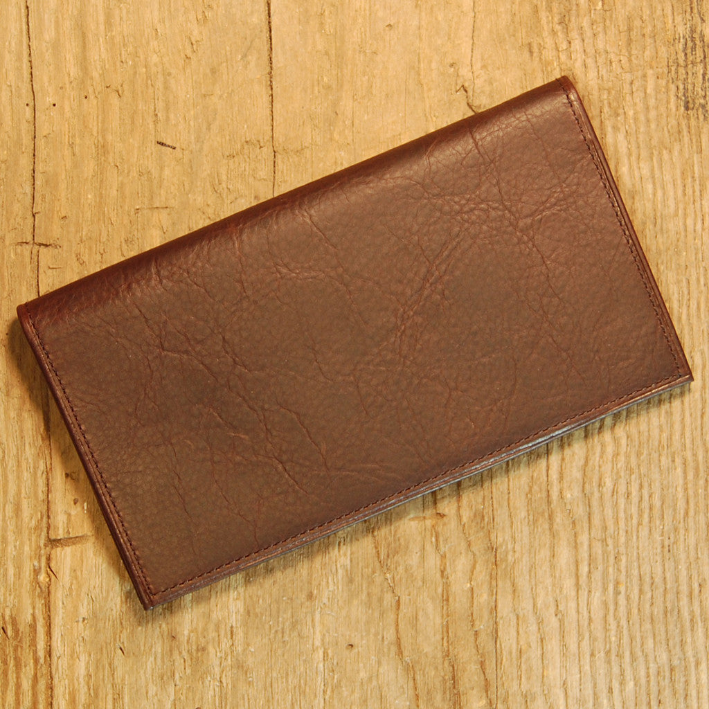 Dark's Leather Checkbook Slim Secretary Wallet in Bison Espresso
