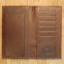 Dark's Leather Checkbook Slim Secretary Wallet in Bison Espresso, Interior