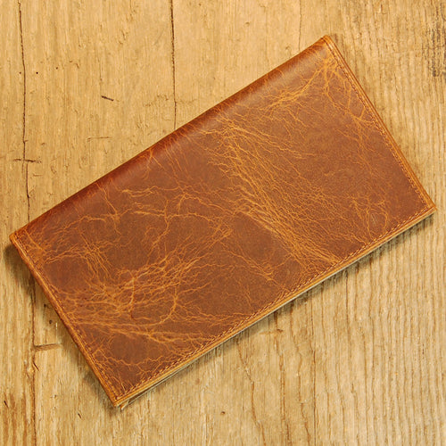 Dark's Leather Checkbook Slim Secretary Wallet in Bison Tobacco