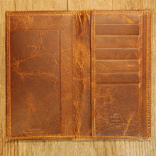 Dark's Leather Checkbook Slim Secretary Wallet in Bison Tobacco, Interior