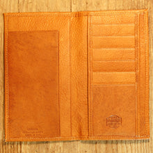 Dark's Leather Checkbook Slim Secretary Wallet in Bison Whiskey, Interior