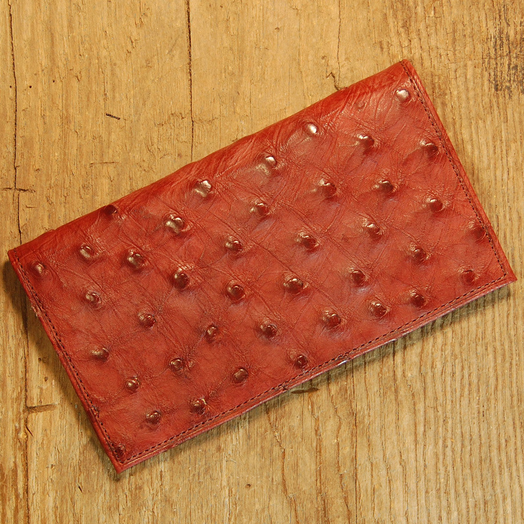 Dark's Leather Checkbook Slim Secretary Wallet in Ostrich Burgundy