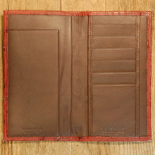 Dark's Leather Checkbook Slim Secretary Wallet in Ostrich Burgundy, Interior