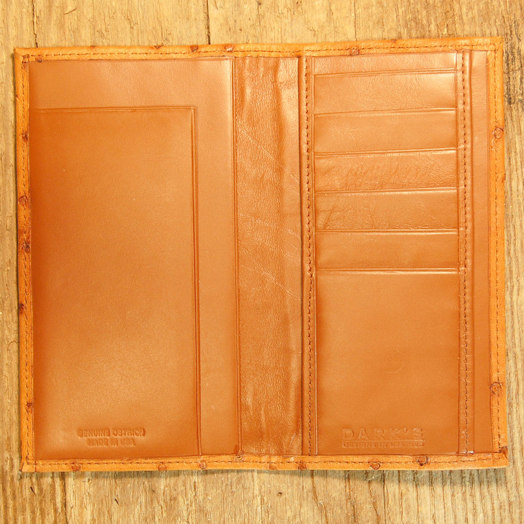 Dark's Leather Checkbook Slim Secretary Wallet in Ostrich Cognac, Interior