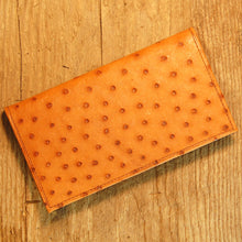 Dark's Leather Checkbook Slim Secretary Wallet in Ostrich Cognac