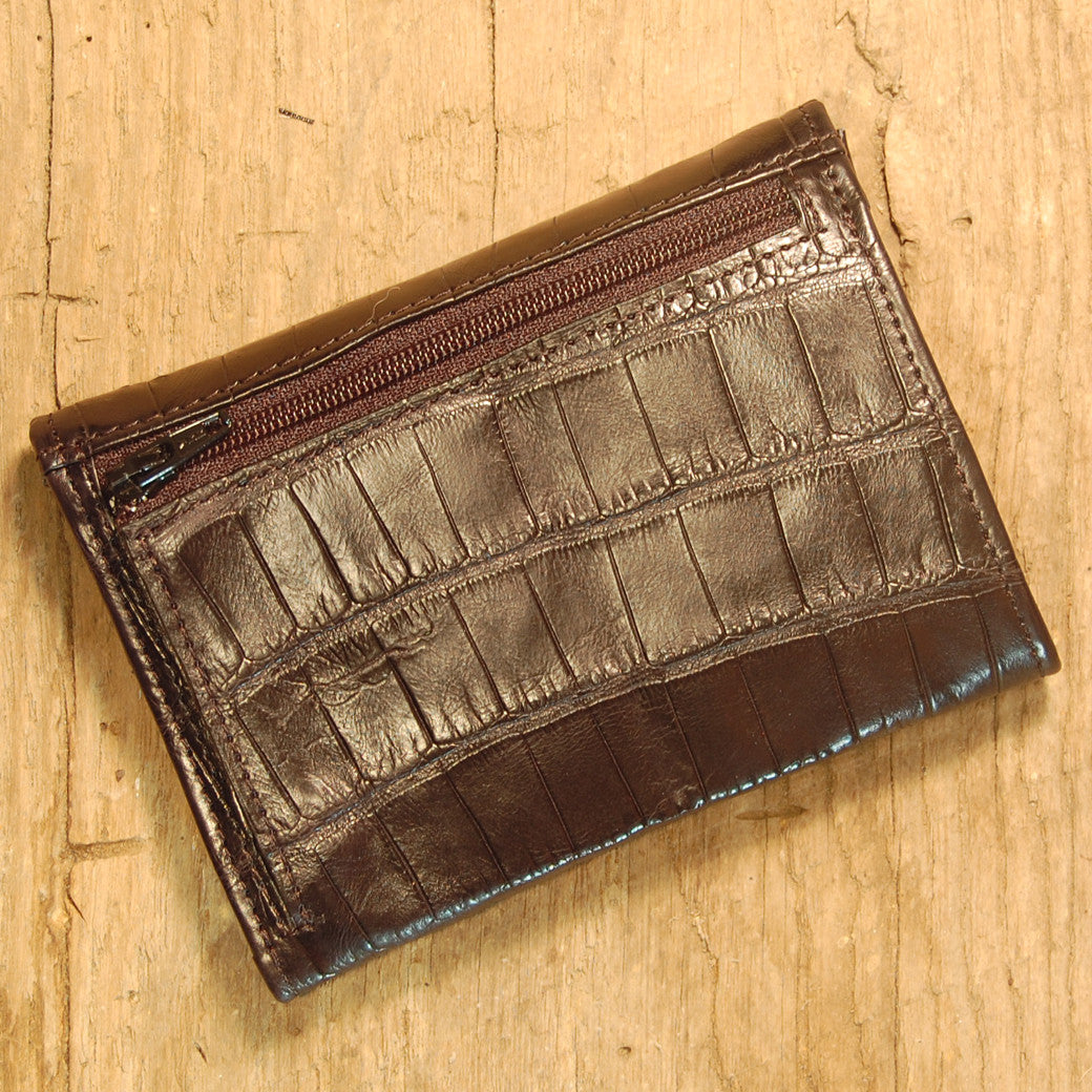 Dark's Leather French Purse Ladies Wallet in Alligator Black, Back