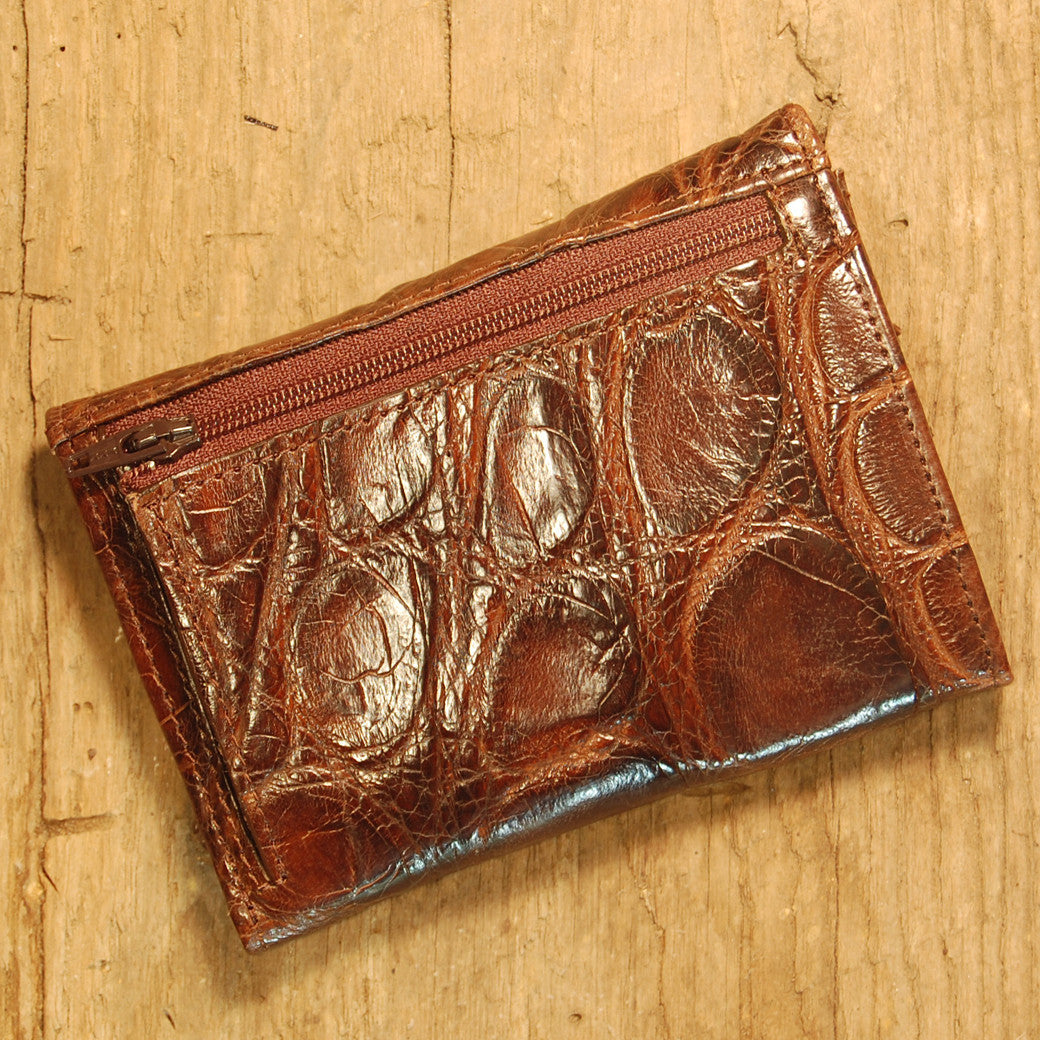 Dark's Leather French Purse Ladies Wallet in Alligator Brown, Back