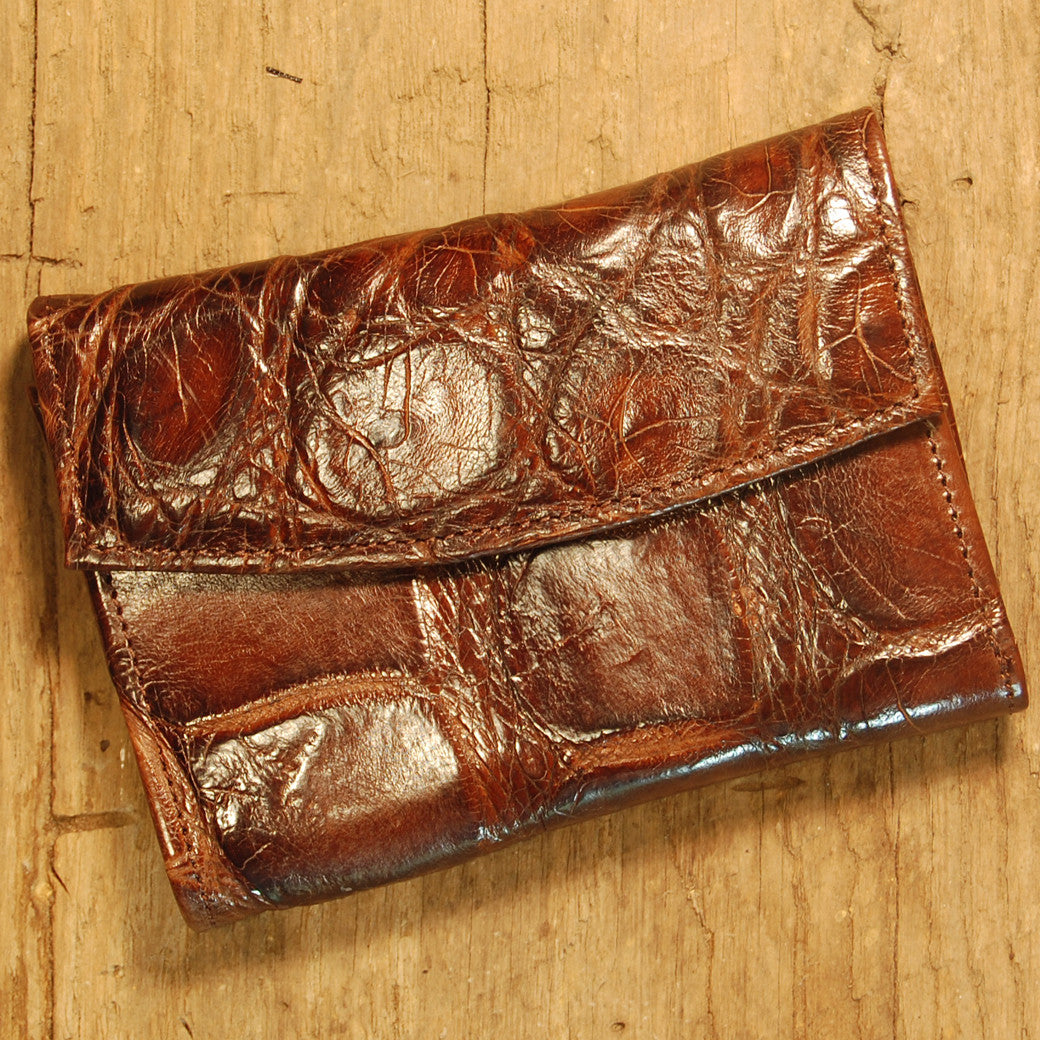 Dark's Leather French Purse Ladies Wallet in Alligator Brown, Front