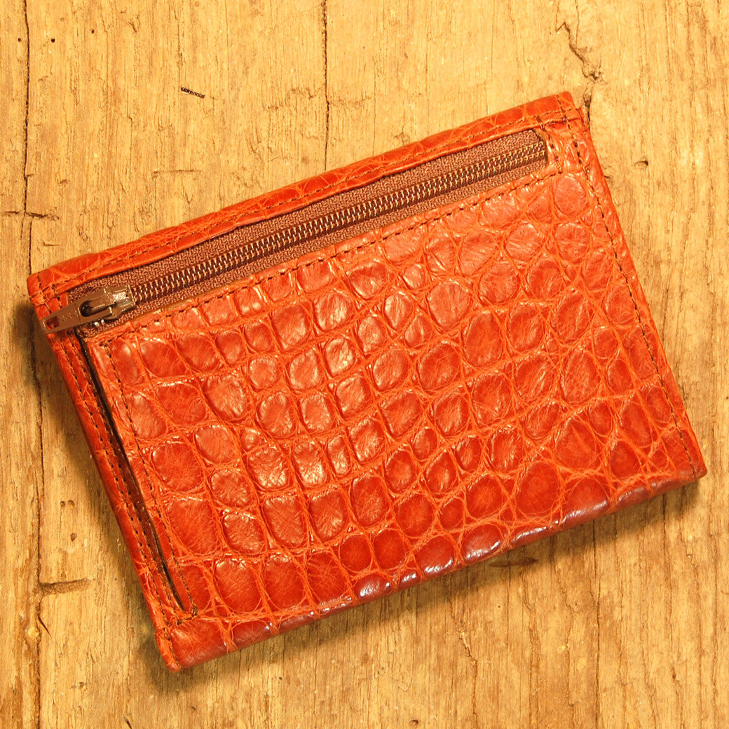 Dark's Leather French Purse Ladies Wallet in Alligator Cognac, Back