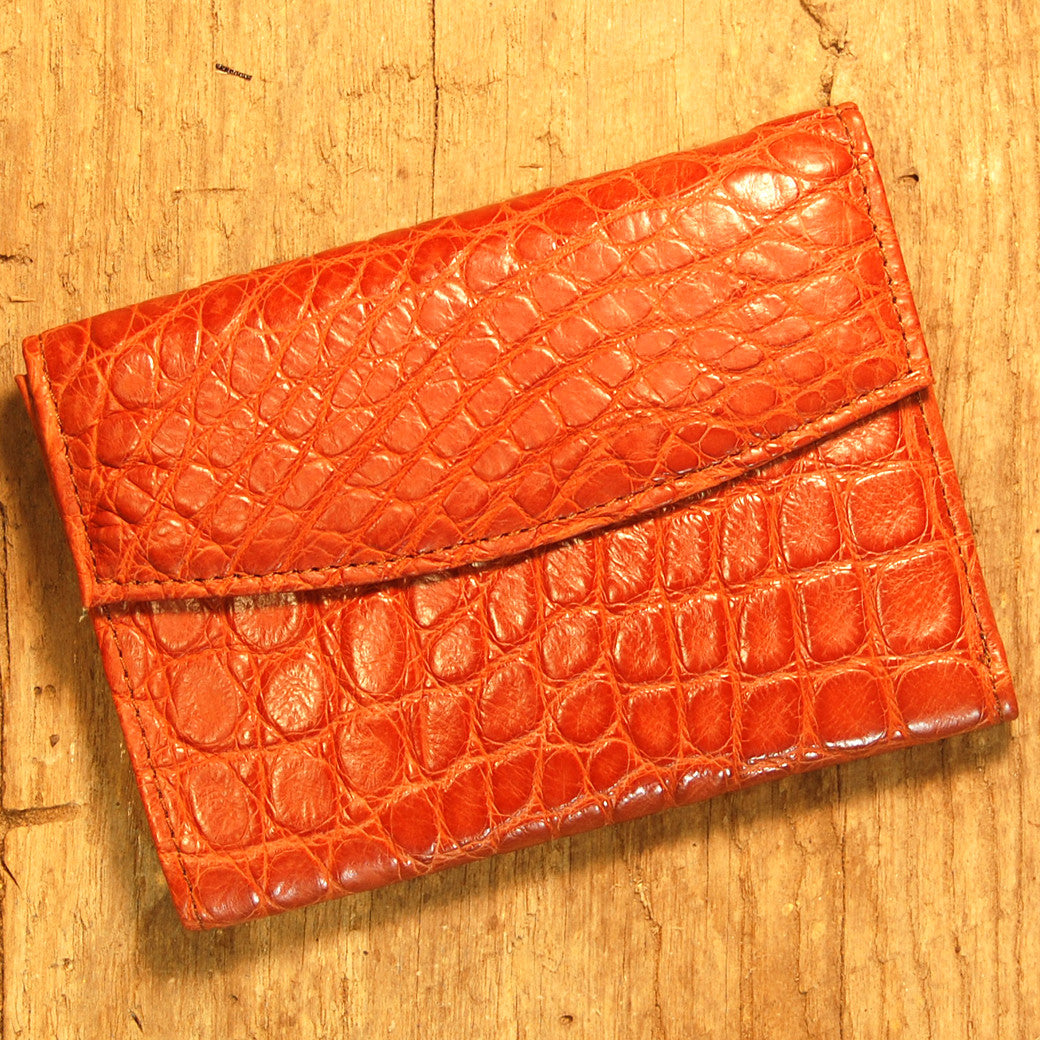 Dark's Leather French Purse Ladies Wallet in Alligator Cognac, Front