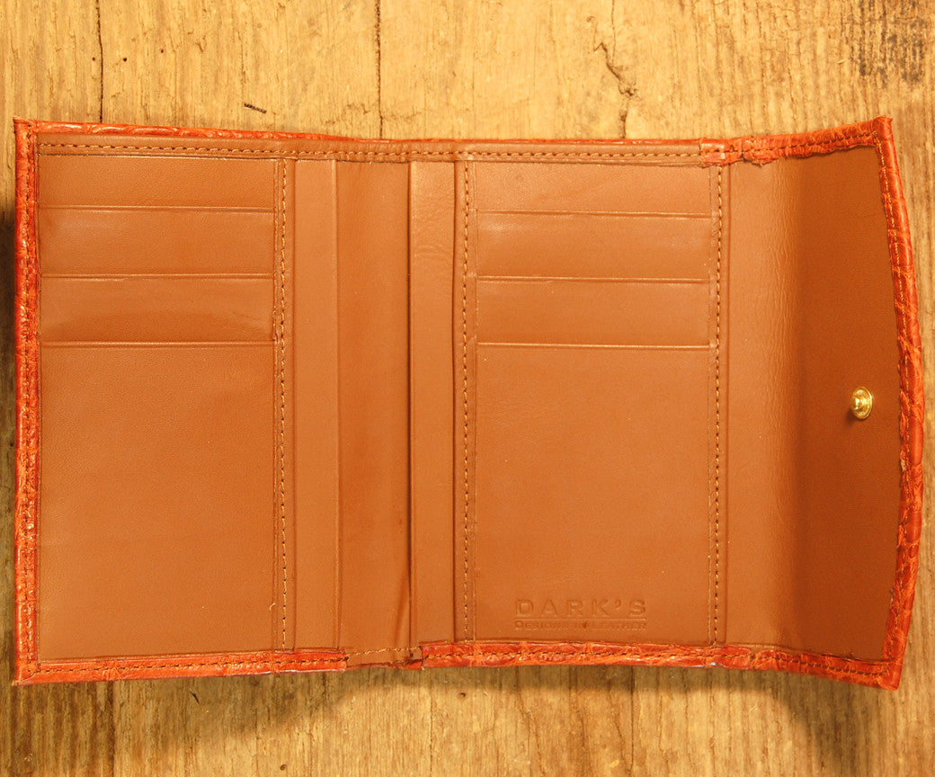 Dark's Leather French Purse Ladies Wallet in Alligator Brown, Interior