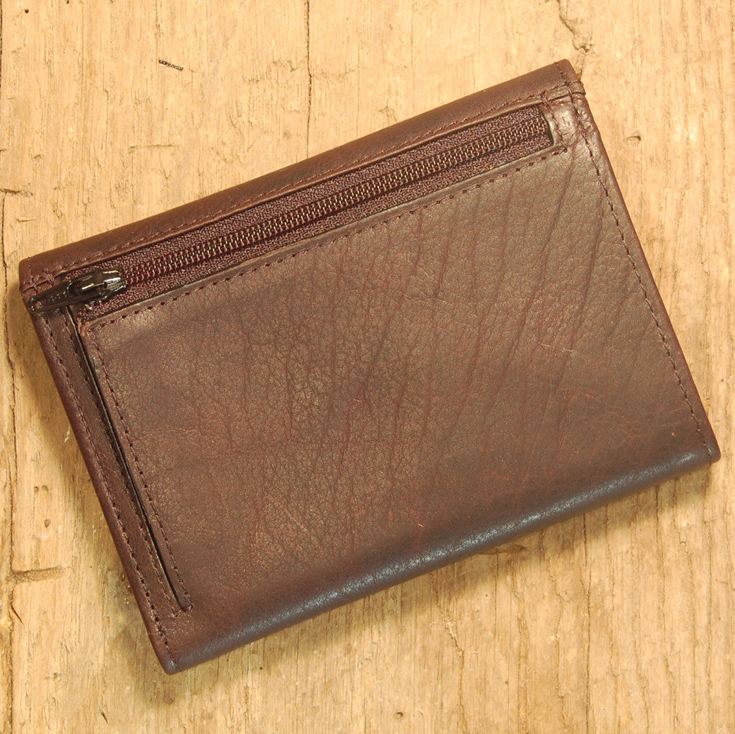 Dark's Leather French Purse Ladies Wallet in Bison Espresso, Back