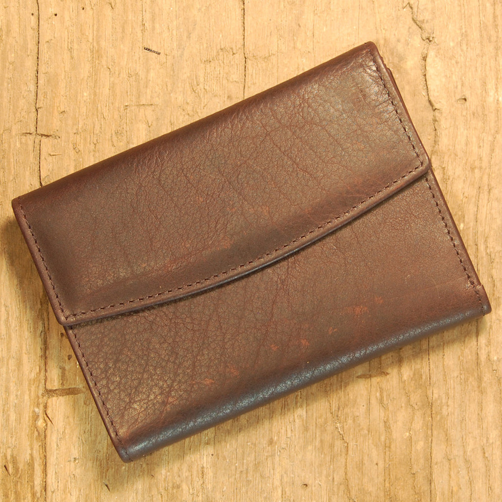 Dark's Leather French Purse Ladies Wallet in Bison Espresso, Front